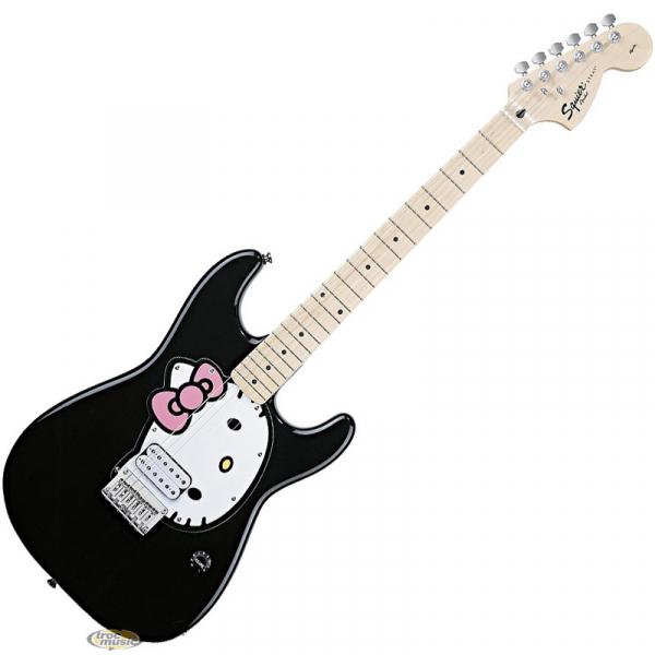 Photo : Guitare STRAT Hello Kitty Squier