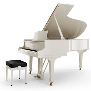 Piano a queue steinway b 211 blanc brillant petite for Piano blanc a queue